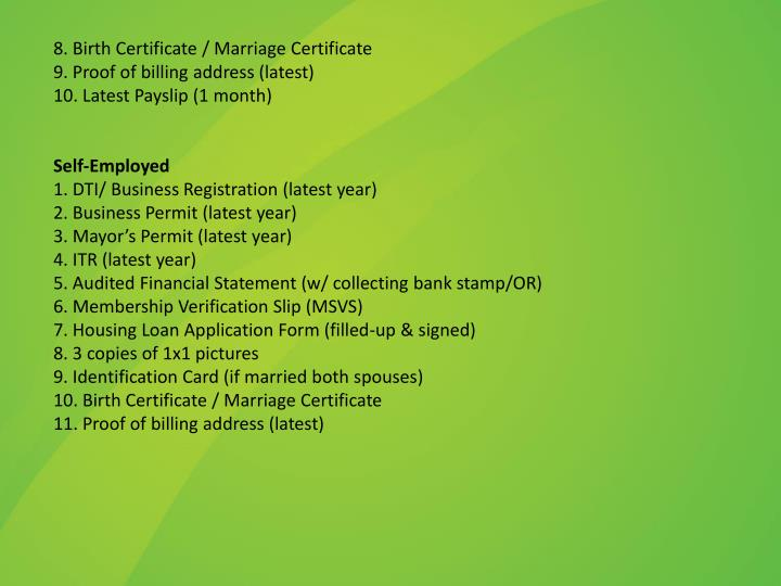 8. Birth Certificate / Marriage Certificate