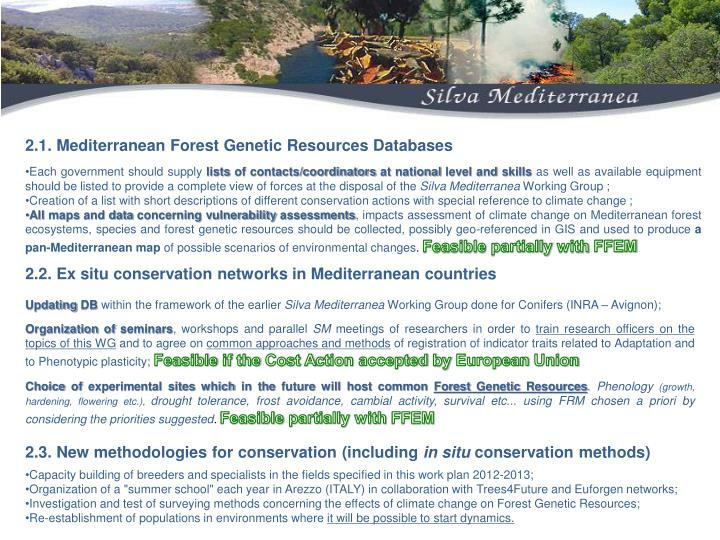 2.1. Mediterranean Forest Genetic Resources Databases