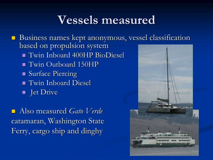 Vessels measured