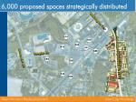 6 000 proposed spaces strategically distributed