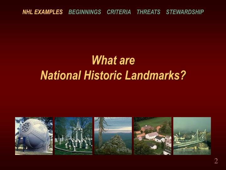 What are national historic landmarks