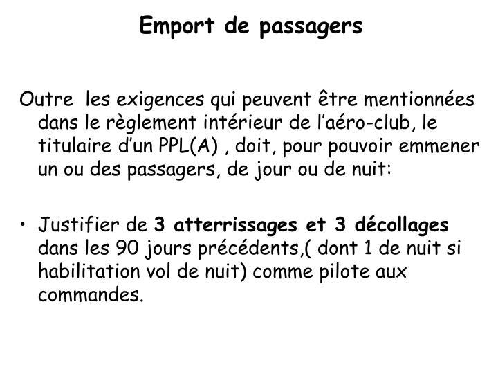 Emport de passagers