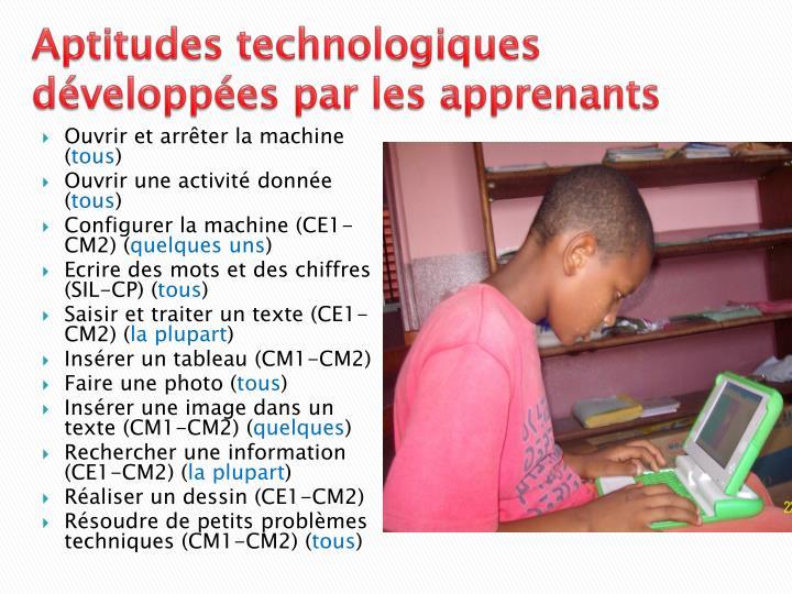 Aptitudes technologiques développées par les apprenants