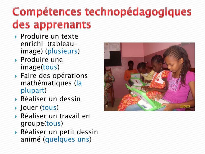 Compétences technopédagogiques des apprenants