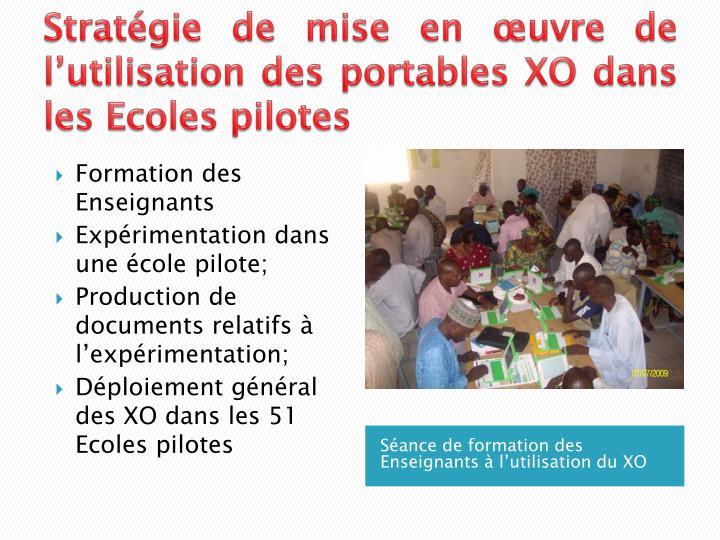 Stratégie de mise en œuvre de l'utilisation des portables XO dans les Ecoles pilotes