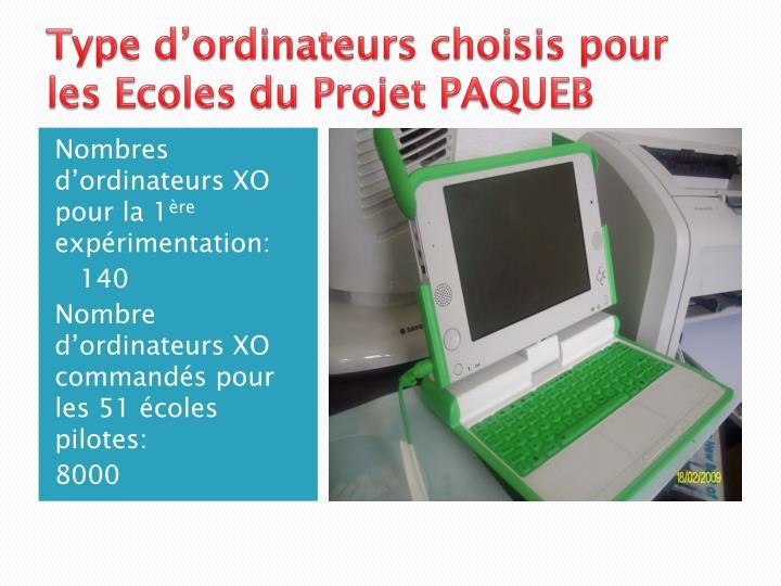 Type d'ordinateurs choisis pour les Ecoles du Projet PAQUEB
