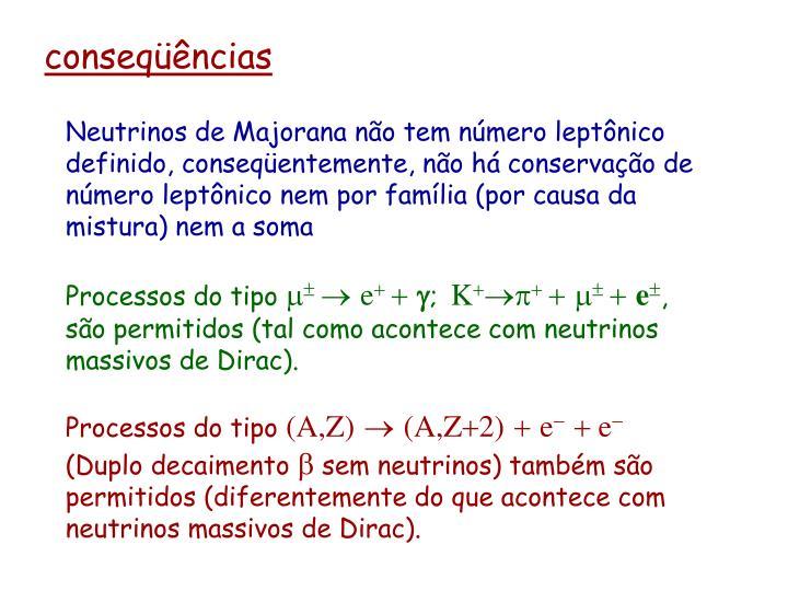 Neutrinos de Majorana não tem número leptônico definido, conseqüentemente, não há conservação de número leptônico nem por família (por causa da mistura) nem a soma
