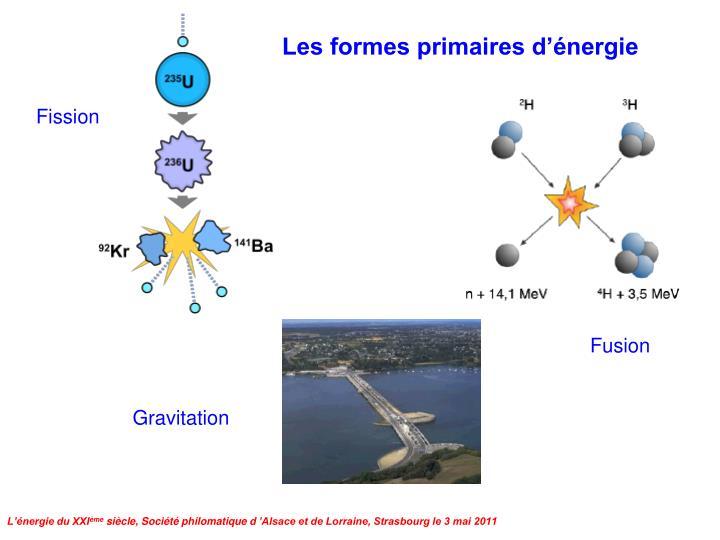 Les formes primaires d'énergie