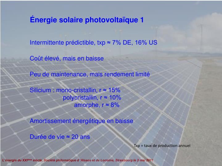 Énergie solaire photovoltaïque 1