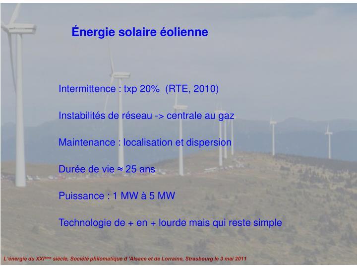 Énergie solaire éolienne