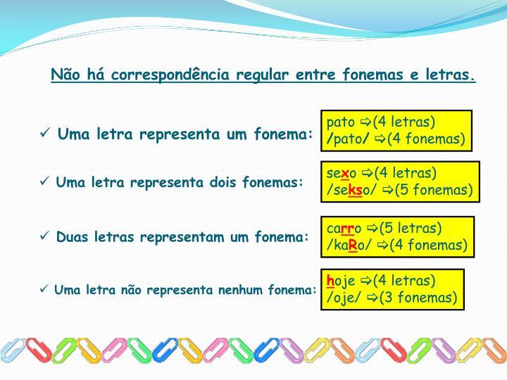 Não há correspondência regular entre fonemas e letras.
