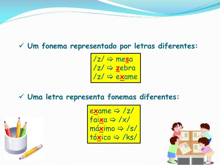 Um fonema representado por letras diferentes: