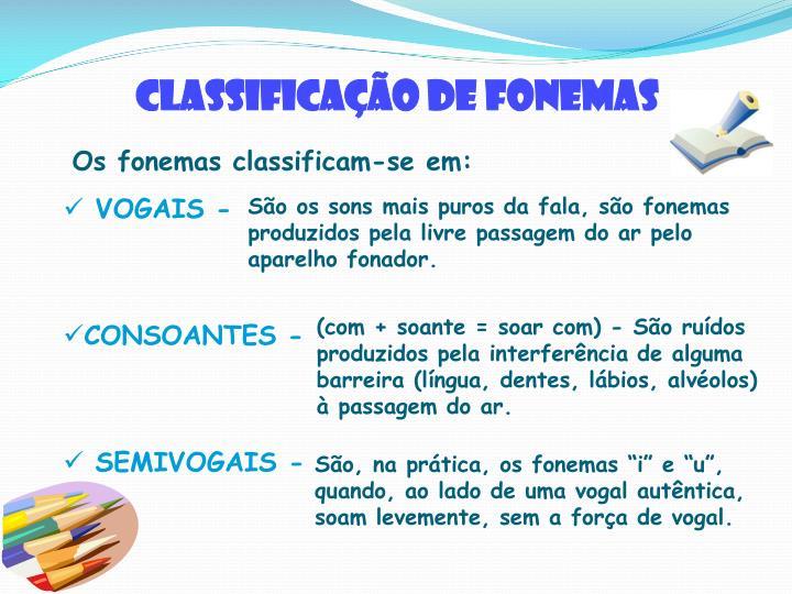 Classificação de fonemas