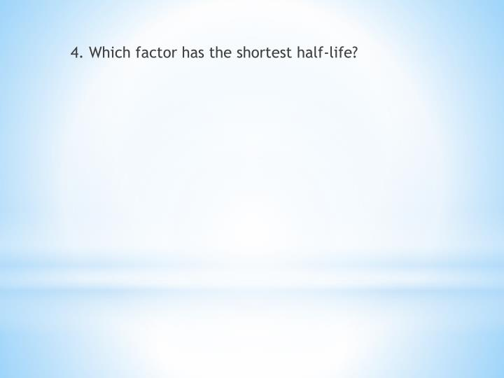4. Which factor has the shortest half-life?