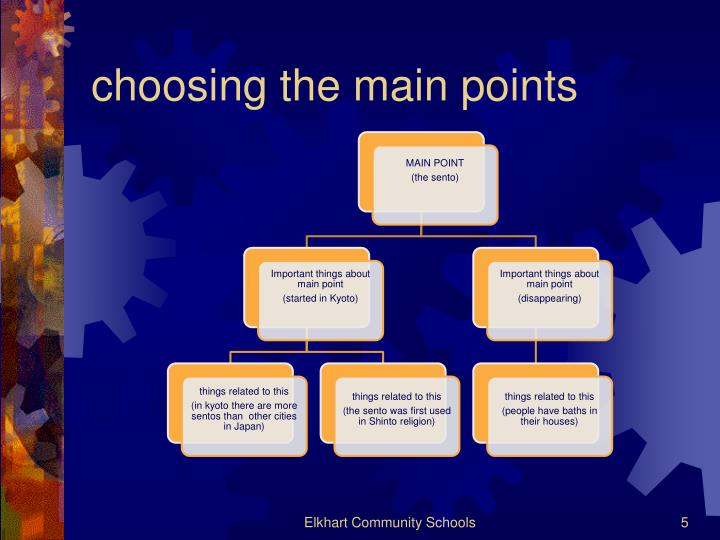 choosing the main points