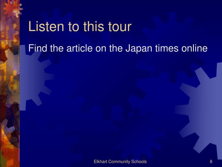 Listen to this tour