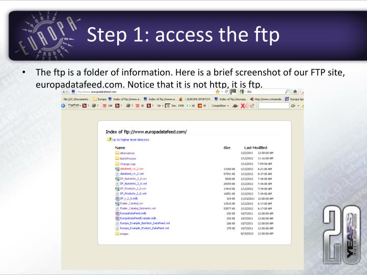 Step 1 access the ftp