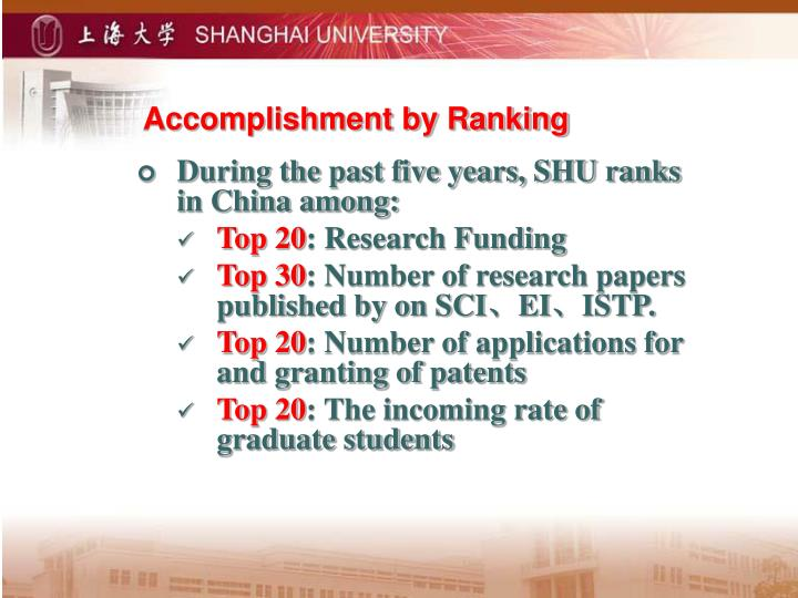 Accomplishment by Ranking
