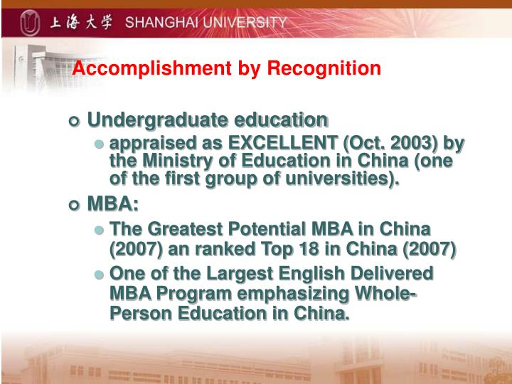 Accomplishment by Recognition