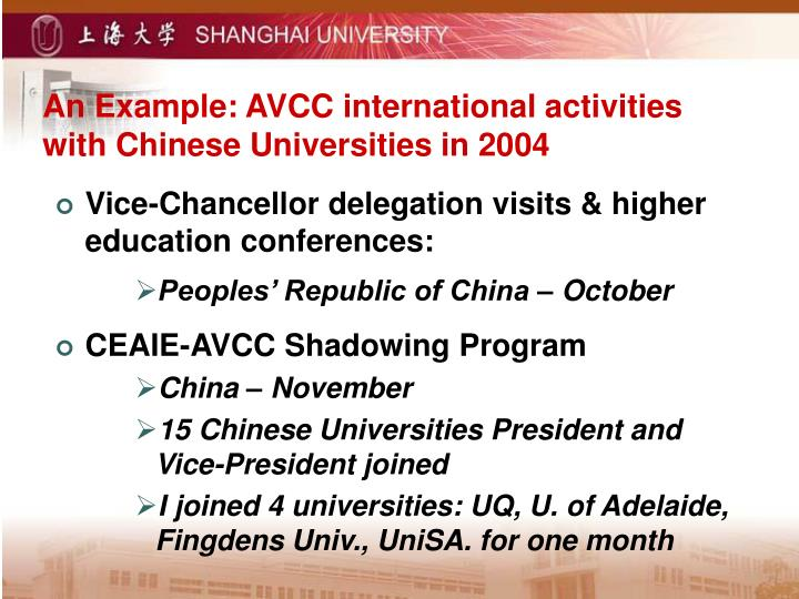 An Example: AVCC international activities with Chinese Universities in 2004