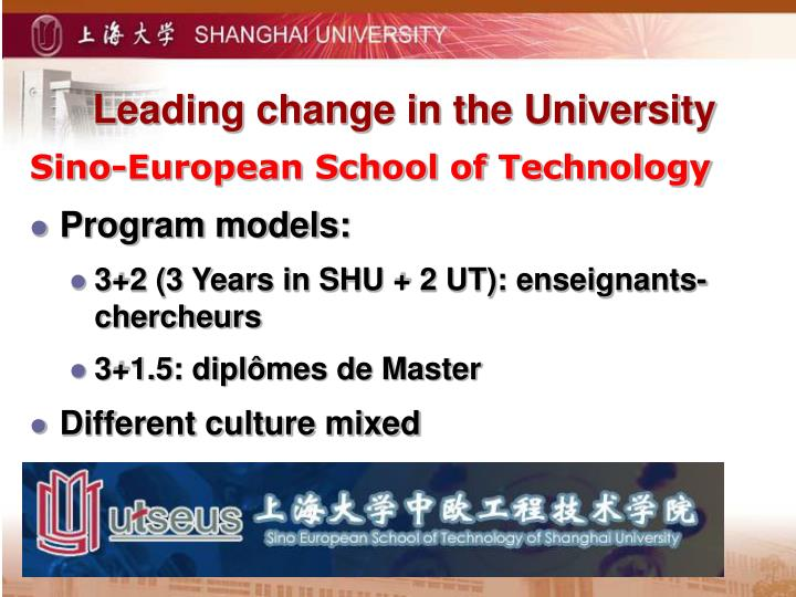 Leading change in the University