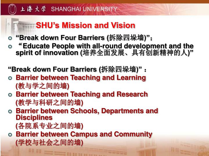 SHU's Mission and Vision