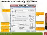 preview dan printing presenta si1