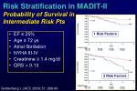 risk stratification in madit ii probability of survival in intermediate risk pts