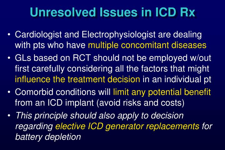 Unresolved Issues in ICD Rx