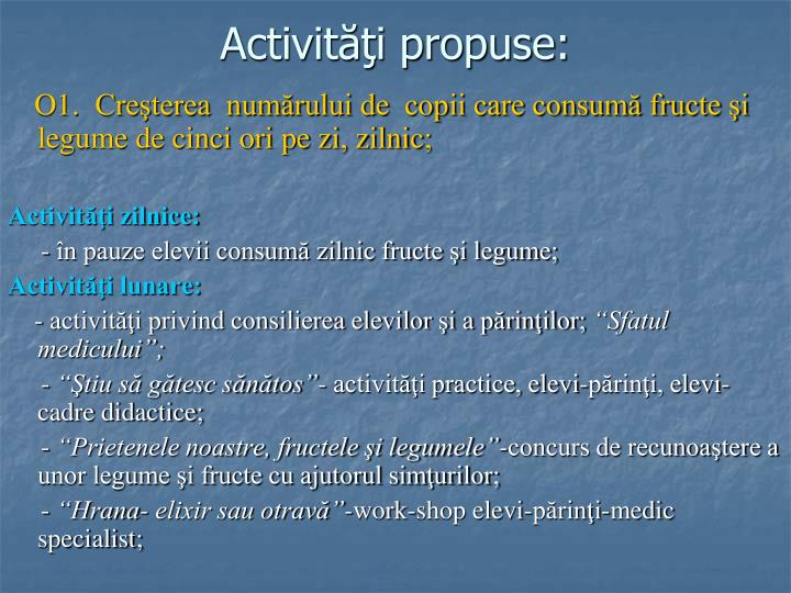 Activităţi propuse: