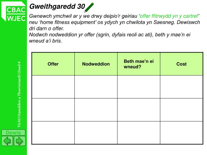 Gweithgaredd 30