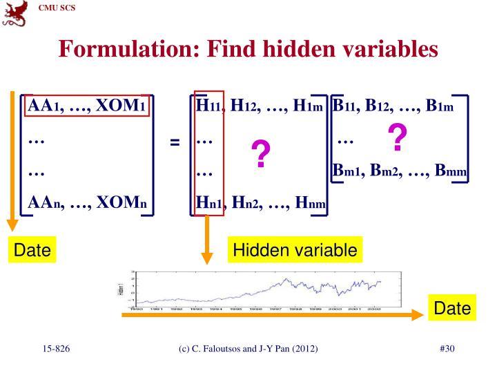 Formulation: Find hidden variables