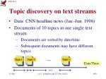 topic discovery on text streams