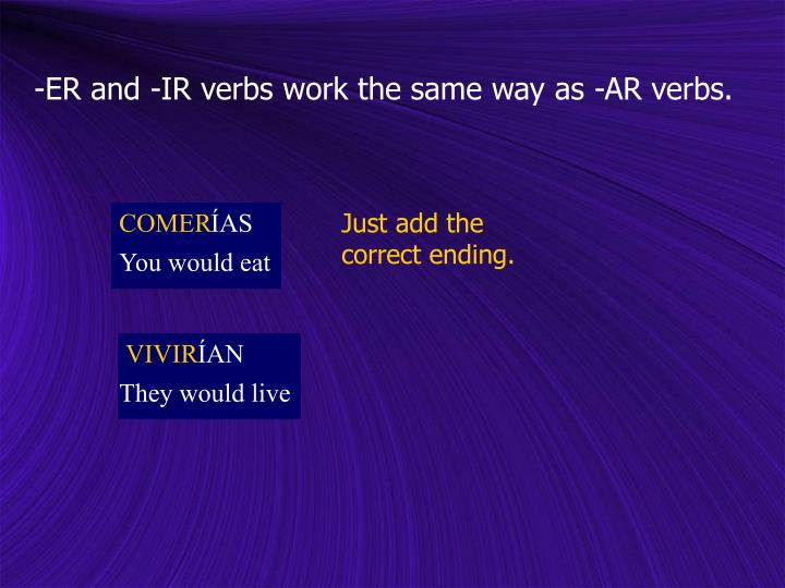 -ER and -IR verbs work the same way as -AR verbs.
