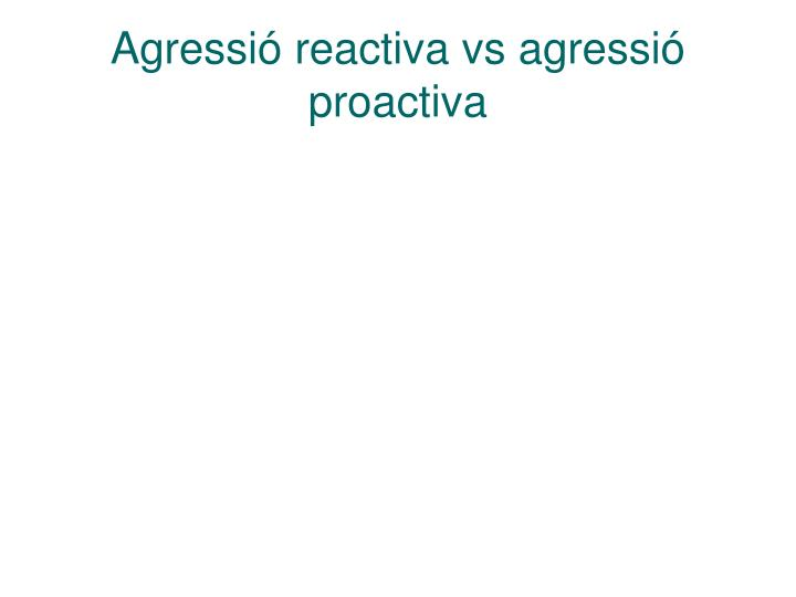 Agressió reactiva vs agressió proactiva