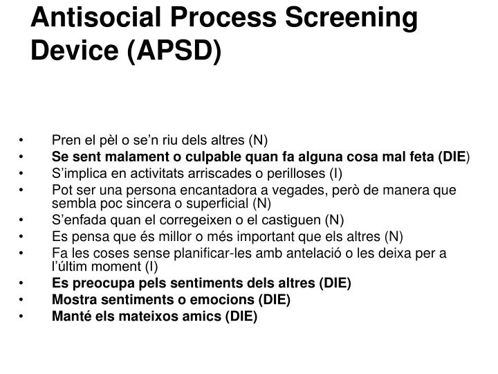 Antisocial Process Screening Device (APSD)