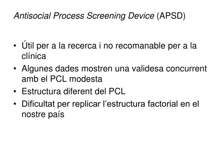 Antisocial Process Screening Device