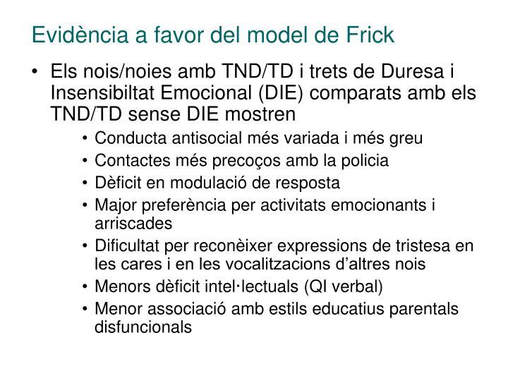 Evidència a favor del model de Frick