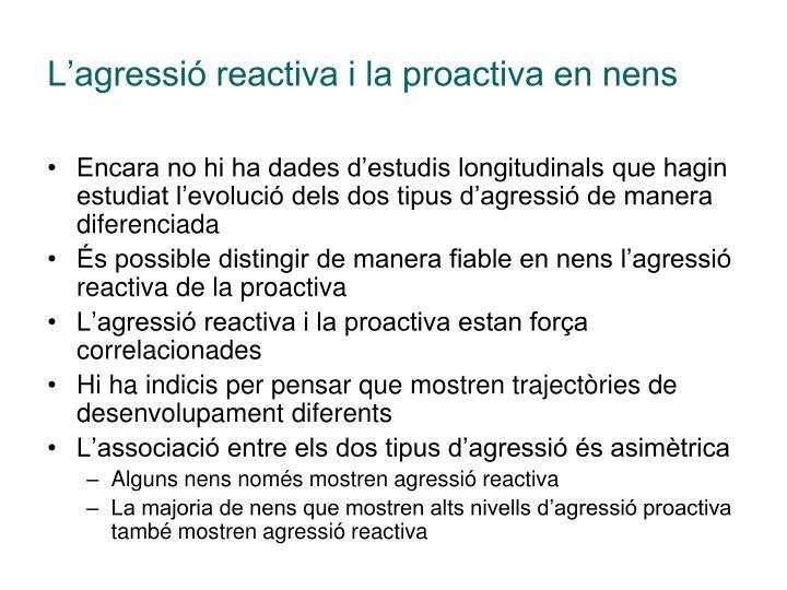 L'agressió reactiva i la proactiva en nens