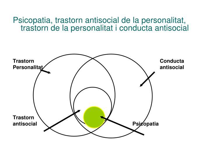 Psicopatia, trastorn antisocial de la personalitat, trastorn de la personalitat i conducta antisocial