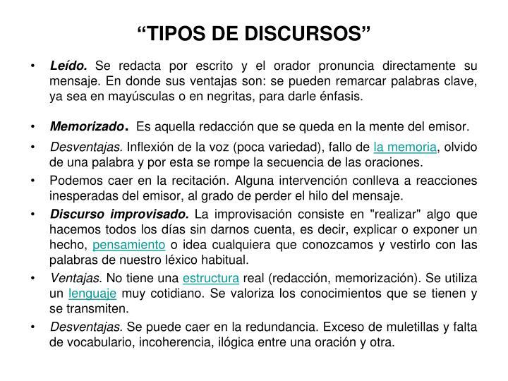 """""""TIPOS DE DISCURSOS"""""""