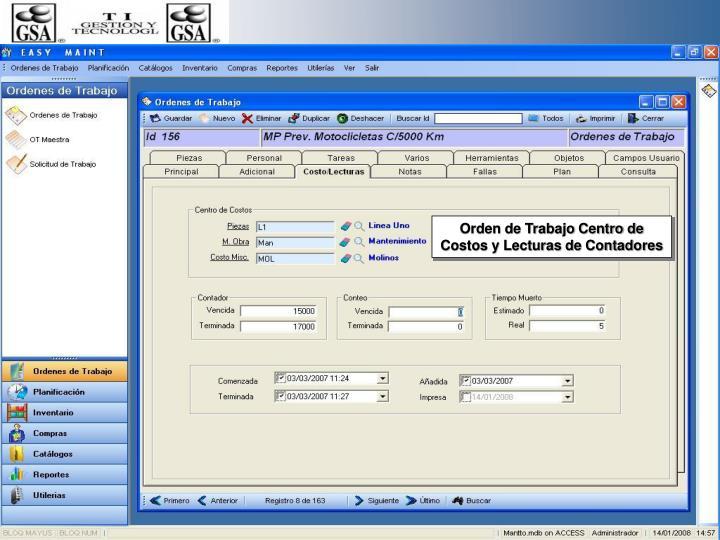 Orden de Trabajo Centro de Costos y Lecturas de Contadores