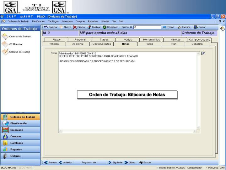 Orden de Trabajo: Bitácora de Notas