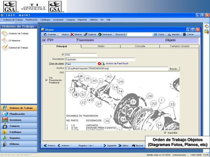 Orden de Trabajo Objetos (Diagramas Fotos, Planos, etc)