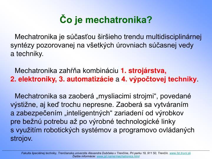 Čo je mechatronika?