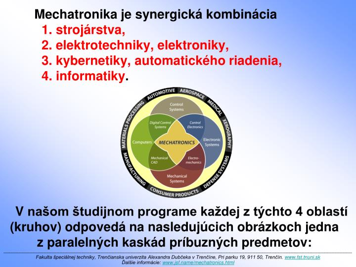 Mechatronika je synergická kombinácia
