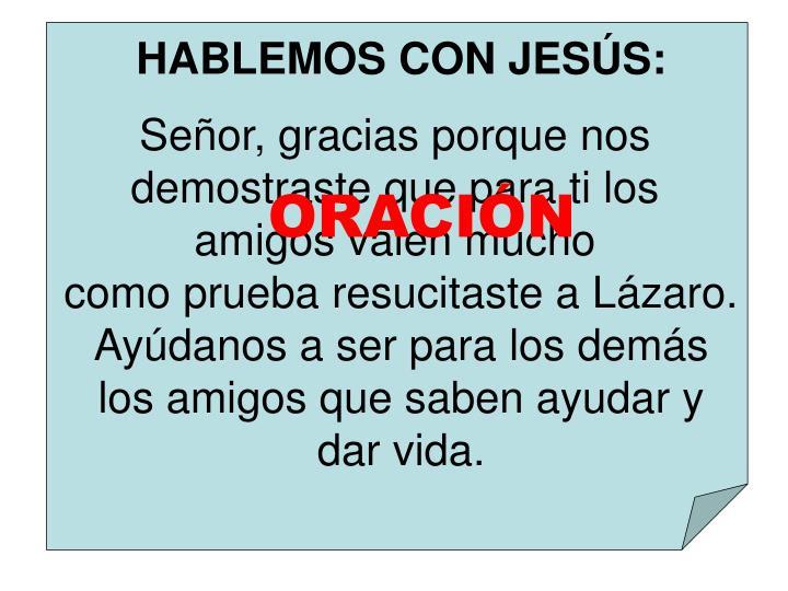 HABLEMOS CON JESÚS: