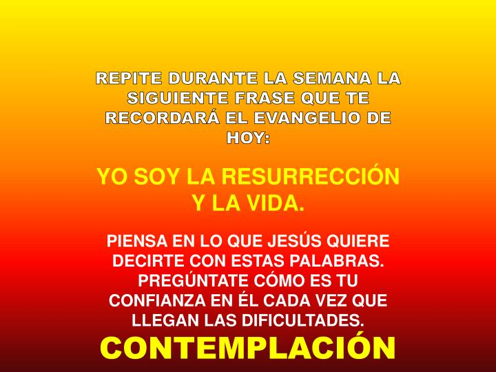 REPITE DURANTE LA SEMANA LA SIGUIENTE FRASE QUE TE RECORDARÁ EL EVANGELIO DE HOY: