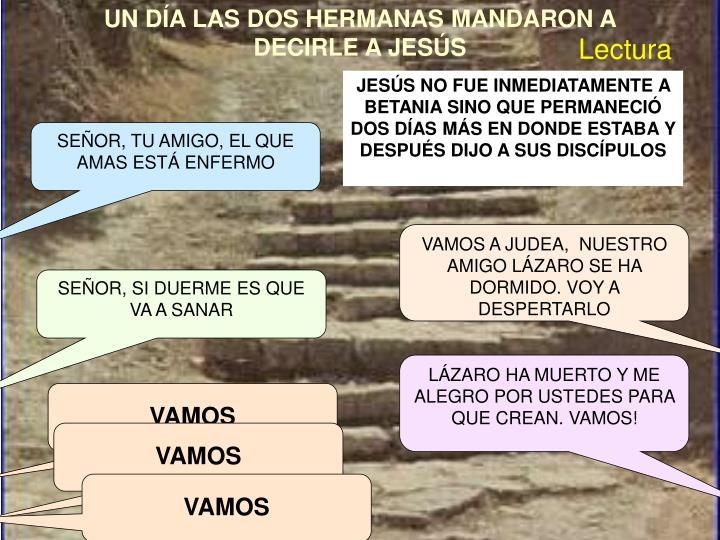 UN DÍA LAS DOS HERMANAS MANDARON A DECIRLE A JESÚS