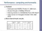 performance computing environments